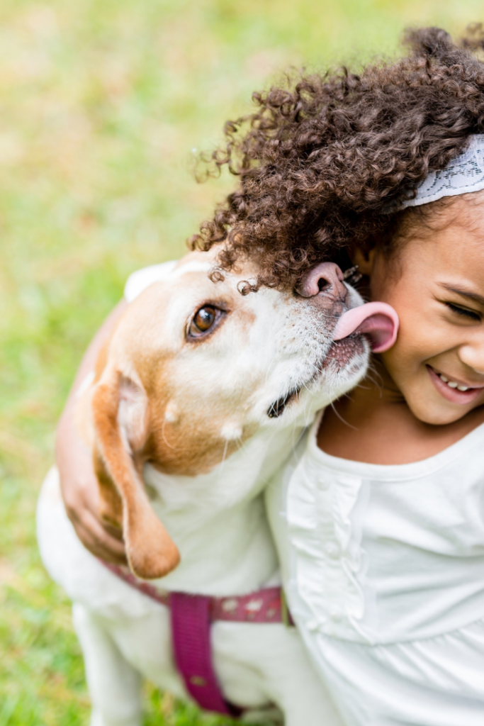 dog and kids